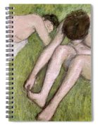 Two Bathers On The Grass Spiral Notebook