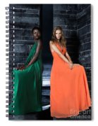 Two Beautiful Women In Elegant Long Dresses Spiral Notebook