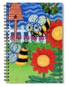 Two Bees With Red Flowers Spiral Notebook