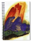 Two Blue Horses In Front Of A Red Roc 1913 Spiral Notebook