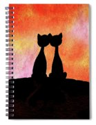 Two Cats And Sunset Silhouette Spiral Notebook