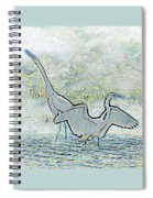Two Egrets In Water I Glow Brilliant On White II Spiral Notebook