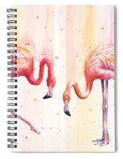 Two Flamingos Watercolor Spiral Notebook