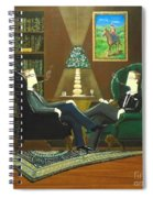 Two Gentlemen Sitting In Wingback Chairs At Private Club Spiral Notebook