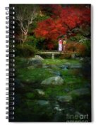 Two Girls In Kimono Standing On A Bridge In Japanese Garden In A Spiral Notebook