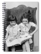 Two Girls Reading A Book, C.1920-30s Spiral Notebook
