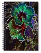 Two Hibiscus Glowing Edges Abstract Spiral Notebook