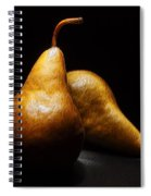 Two Pears Light Painted On Black Background Spiral Notebook