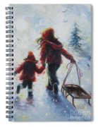 Two Sisters Going Sledding Spiral Notebook