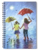 Two Sisters Rain Blond Little Sister Spiral Notebook
