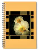Two Honey Bees Two White Flowers Matted Spiral Notebook