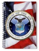 U. S.  Air Force  -  U S A F Emblem Over American Flag Spiral Notebook