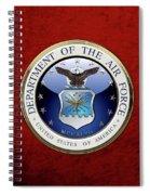 U. S.  Air Force  -  U S A F Emblem Over Red Velvet Spiral Notebook