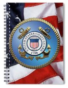 U. S. Coast Guard - U S C G Emblem Over American Flag Spiral Notebook