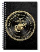 U S M C Emblem Black Edition Over Black Velvet Spiral Notebook
