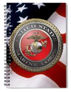 U S M C Emblem Over American Flag Spiral Notebook