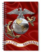 U. S.  Marine Corps - C O And Warrant Officer Eagle Globe And Anchor Over Corps Flag Spiral Notebook