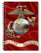 U. S.  Marine Corps - U S M C Eagle Globe And Anchor Over Corps Flag Spiral Notebook