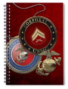 U. S.  Marines Corporal Rank Insignia Over Red Velvet Spiral Notebook