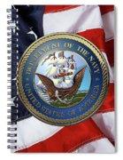 U. S.  Navy  -  U S N Emblem Over American Flag Spiral Notebook