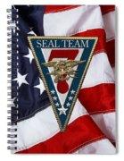 U. S. Navy S E A Ls - S E A L Team Seven  -  S T 7  Patch Over U. S. Flag Spiral Notebook