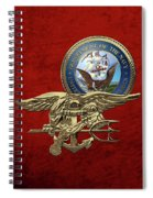 U. S. Navy S E A Ls Trident Over Red Velvet Spiral Notebook