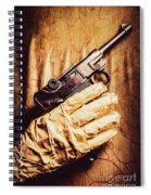 Undead Mummy  Holding Handgun Against Wooden Wall Spiral Notebook