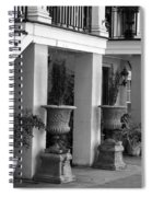 Under The Steps In Savannah - Black And White Spiral Notebook