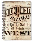 Union Pacific Railroad - Gateway To The West  1883 Spiral Notebook