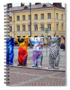 United Buddy Bear Statues At Helsinkis Senate Square Spiral Notebook