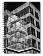 Urban Abstract - Mirrored High-rise Building In Black And White Spiral Notebook