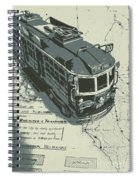 Urban Trams And Old Maps Spiral Notebook