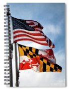 Us And Maryland Flags Spiral Notebook