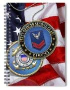 U. S. Coast Guard Petty Officer Second Class - Uscg Po2 Rank Insignia Over Us Flag Spiral Notebook
