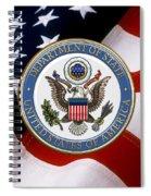 U. S. Department Of State - Dos Emblem Over U.s. Flag Spiral Notebook