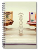 U.s. Dollar And Euro Banknotes On A Pair Of Scales In Vienna Spiral Notebook