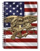 U.s. Navy Seals Trident Over U.s. Flag Spiral Notebook