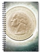 Us One Quarter Dollar Coin 25 Cents Spiral Notebook