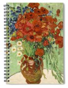 Vase With Daisies And Poppies Spiral Notebook