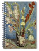 Vase With Gladioli And Chinese Asters Spiral Notebook