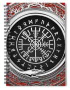 Vegvisir - A Silver Magic Viking Runic Compass On Red Leather  Spiral Notebook