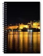 Velvety Reflections - Valletta Grand Harbour At Night Spiral Notebook