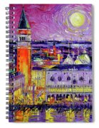 Venice Night View Modern Textural Impressionist Stylized Cityscape Spiral Notebook