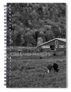 Vermont Farm With Cows Black And White Spiral Notebook