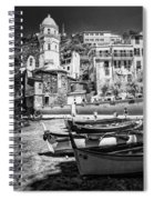 Vernazza Boats And Church Cinque Terre Italy Bw Spiral Notebook