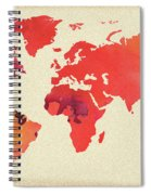 Vibrant Hot Watercolor World Map Spiral Notebook