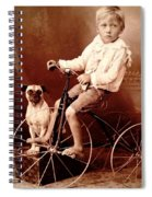 Victorian Boy With Pug Dog And Tricycle Circa 1900 Spiral Notebook