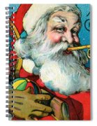 Victorian Illustration Of Santa Claus Holding Toys And Blowing On A Trumpet Spiral Notebook