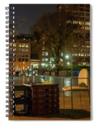 View Of Chess Board In The Middle Of Busy Sidewalk At Night Spiral Notebook