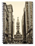 View Of Cityhall From Broad Street In Philadelphia Spiral Notebook